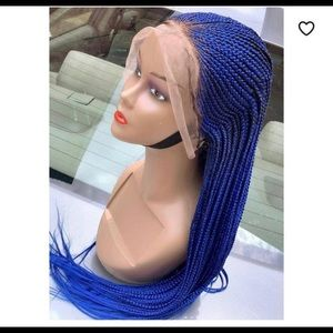 Blue color handmade braiding wigs